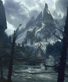 """At Mountains Feet"" Art by Josu Solano on Tag a friend! Fantasy Artwork, Fantasy Art Landscapes, Fantasy Concept Art, High Fantasy, Medieval Fantasy, Fantasy World, Dark Landscape, Fantasy Landscape, Dark Mountains"