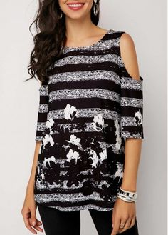 Black & White Abstract Floral Cold Shoulder Tunic Top Half Sleeve Cold Shoulder Printed T Shirt Stylish Tops For Girls, Trendy Tops For Women, Half Sleeves, Trendy Fashion, Cheap Fashion, Cold Shoulder, Printed, Clothing Sites, Boutique Clothing