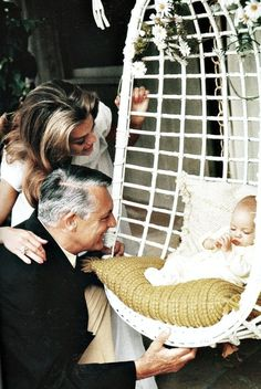 Cary Grant with wife Dyan Cannon and daughter Jennifer, 1966