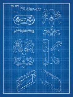Classic console blueprints designs by adam rufino sega genesis nintendo controllers patent poster screen print decoration technical invention design blueprint schematic retro video game screenprint malvernweather Gallery