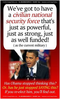 Which he will turn lose on US to take over this country, then disarm the people,  and establish Muslim rule....I do believe he is INSANE enough to try it!!!!