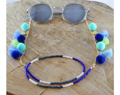 Tassel & Pom Pom Seed Bead Sunglass Strap, Sunny Strap, Eyeglass Chain, Eyeglasses Chain, Sunglasses Strap, Sunglasses Retainers, Sunglasses Chain, Glasses chain, Sunglass chain, Sunglass cord