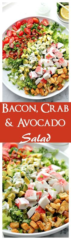 Gibson's Restaurant Delicious Copycat - Bacon, Crab & Avocado Salad _ A refreshing and delicious salad with a mix of crab meat, avocados, and bacon tossed in a homemade Green Onion Yogurt Salad Dressing! Healthy Salads, Healthy Eating, Healthy Recipes, Salads With Meat, Healthy Fats, Keto Recipes, Crab Recipes, Dinner Recipes, Yogurt Salad Dressings