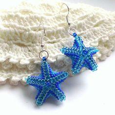 Star Shaped Earrings-Seed Bead Stars-Beadwoven от Galiga на Etsy