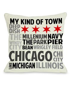 Stuffed with a plush down alternative and boasting an understated design, this playful Chicago pillow has plenty of personality to spare.