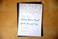 Type A Invitations - Navy and Silver Letterpress Invitation #weddinginvitation #navy #silver #letterpressed