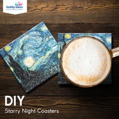 Now add some beauty to your home with these gorgeous coasters made using Fevicryl Modge Podge featuring Vincent van Gogh's masterpiece Starry Night. Decoupage Art, Diy Coasters, Van, Diy Crafts, Crafty, Night, Yellow, Room, Decor