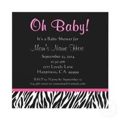 Shop Black White Pink Zebra Print Baby Shower Invitation created by JaclinArt. Personalize it with photos & text or purchase as is!