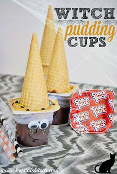 Need fun ways to serve a Halloween snack? Try these witch pudding cups! Get creative and let guests customize their creations! Add sprinkles and make faces.