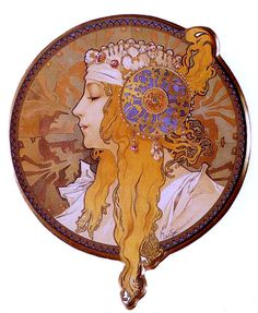 I've been thinking for a while now that I reeeeally want to tattoo this set on the outside of my thighs below the hip. I'm in love with them. Byzantine Head The Blonde by Alphonse Mucha, 1897