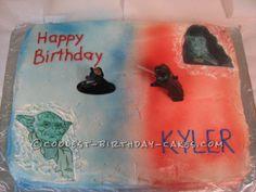 Coolest Luke vs Darth Star Wars Birthday Cake... This website is the Pinterest of birthday cake ideas