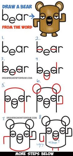 How to Draw a Cartoon Bear from the Word Bear - Bear Word Cartoon Tutorial for Kids - How to Draw Step by Step Drawing Tutorials Drawing Lessons, Drawing Tips, Drawing Tutorials, Drawing Techniques, Drawing Ideas, Learn Drawing, Word Drawings, Doodle Drawings, Easy Drawings