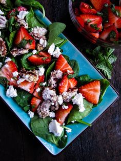 Strawberry Balsamic Salad with Candied Pecans and Goat Cheese {Katie at the Kitchen Door}