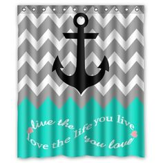 "Infinity Live The Life You Love,Love The Life You Live Chevron Pattern with Nautical Anchor Turquoise Grey White Waterproof Bathroom Fabric Shower Curtain,Bathroom Decor 60"" x 72"" 