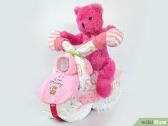 Image titled Make a DIY Motorcycle Diaper Cake Intro Baby Diaper Motorcycle, Diaper Bike, Tricycle Diaper Cakes, Boat Diaper Cake, Elephant Diaper Cakes, Diy Diaper Cake, Nappy Cakes, Girl Diaper Cakes, Cake Baby