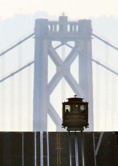 Cable Car and Bay Bridge, San Francisco, US