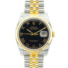 Pre-owned Rolex Men's Datejust Two-tone Blue Dial Watch. ITEM 13997198 With a distinguished design from the this pre-owned men's Rolex watch is a stately accent for any outfit. The watch features a blue dial beneath golden hands, a gold-fluted Rolex Women, Rolex Watches For Men, Men's Watches, Luxury Watches, Oyster Perpetual Datejust, Rolex Datejust, Men's Rolex, Thing 1, Shopping