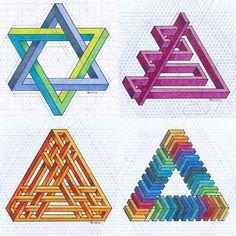 #impossible #isometric #geometry #symmetry #handmade #mathart #regolo54 #escher #oscareutersvärd #penrose #triangle #hexagon #star #pencil