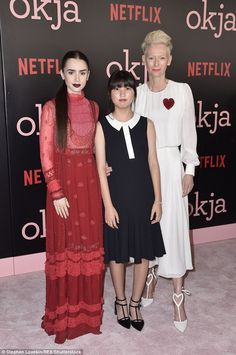 Lily Collins dazzles in elegant red gown at Okja premiere #dailymail