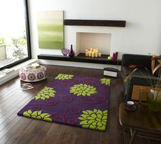 I really like this purple and lime green rug fir the front door foyer.  Might be too bold and too purple.  Can't decide.
