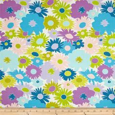 Designed by Jeni Baker for Art Gallery Fabrics, this cotton print is perfect for quilting, apparel and home decor accents.  Colors include white, pink, lime, citron, orchid, blue, aqua and cerulean blue.  Art Gallery Fabric features 200 thread count of finely woven cotton.
