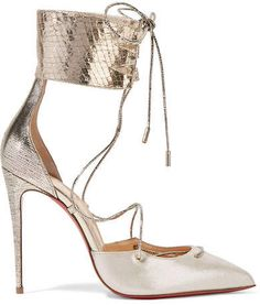 Christian Louboutin - Corsankle 100 Metallic Leather And Lamé Pumps - Silver - Mens New Years Eve Outfit Metallic Pumps, Silver Pumps, Metallic Leather, Real Leather, Stiletto Shoes, High Heels Stilettos, Louboutin Shoes, Shoes Heels, Cl Fashion