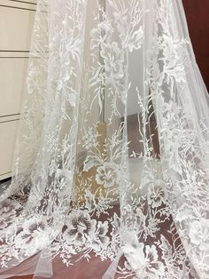 1 Yard Clear Sequin Tulle Floral Embroidered Lace Fabric for Bridal Gown, Wedding Dress, Couture Gown, Costume Design White Lace Fabric, Bridal Lace Fabric, Embroidered Lace Fabric, Wedding Fabric, Floral Lace, Gown Wedding, Embroidery Fabric, Sequin Embroidery, Wedding Lace
