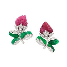 Pair of Platinum, Carved Ruby and Emerald and Diamond Flower Bud Earclips