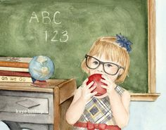 Teacher Girl Teacher Painting Teacher Print by KayeBishopStudios