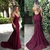 2018 Charming Red Lace Prom Dress, Spaghetti Straps Sexy Mermaid Prom Dresses, Evening Dress, PD0438