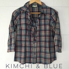 Urban Outfitters Kimchi&Blue button up Great plaid button up with ruffles. Kimchi & Blue for Urban Outfitters. EUC, gently worn. 97% cotton, 3% spandex. Urban Outfitters Tops Button Down Shirts