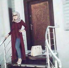 open-maroon-dress-with-jeans-hijab- Ootd hijab styles http://www.justtrendygirls.com/ootd-hijab-styles/