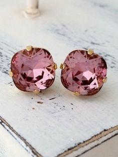 Antique pink Swarovski crystal stud earring | pink wedding | pink crystal earrigns by EldorTinaJewelry | http://etsy.me/1gGMuxP