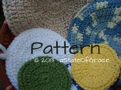 Cleaning Sponge PATTERN, 5 sizes, Crochet, Double-Sided, Pot Holder, Hot Pad, Dishcloth, Washcloth, Facial Scrubbie
