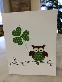 Stampin Up owl punch. Happy St. Patrick's Day