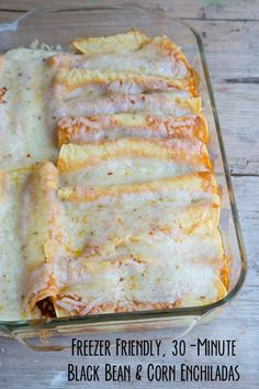 NEW 30-Minute Black Bean & Corn Enchiladas Recipe that is deliciously freezer friendly and amazing! | 5DollarDinners.com