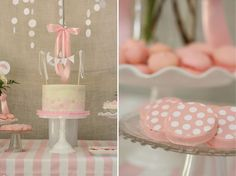Project Nursery - Pink and White Baby Shower Cake and Polka Dot Cookies