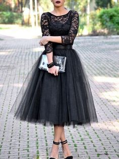Fashion Lace Patchwork Ball Gown Dress Women Tulle Tutu Mid-Calf Dresses Elegant Party O-neck High Waist Vestidos summer dress Prom Dresses Long With Sleeves, Dresses Short, Lace Evening Dresses, Evening Gowns, Dresses 2016, Fitted Dresses, Tea Length Bridesmaid Dresses, Dresses Dresses, Plus Size Homecoming Dresses