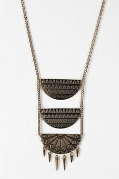 Tribal Tiered Half Disk Necklace