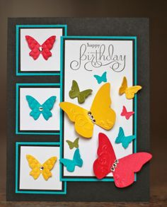 Cardstock: Basic Black, Tempting Turquoise, Whisper White, Daffodil Delight, Melon Mambo, Old Olive  Stamps: Well Scripted  Ink: Basic Black  Other: Beautiful Wings Embosslit, Basic Rhinestones, Dimensionals