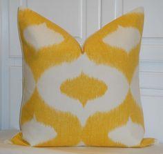 "Yellow Ikat Pillow Cover 20"" x 20"" $45"