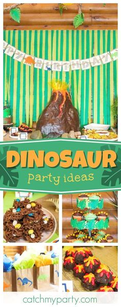 Check out this cool Dinosaur birthday party!! The volcano birthday cake is so cool!! See more party ideas and share yours at CatchMyParty.com #partyideas #catchmyparty #dinosaur #boybirthday