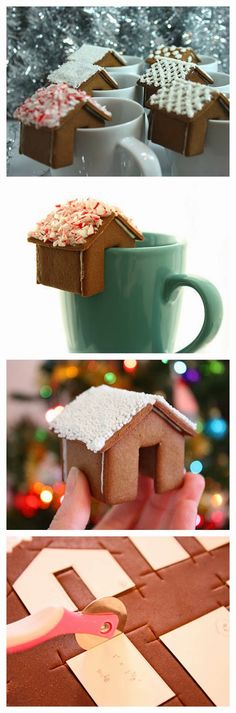 houses that perch on your mug! Christmas Cookies: Gingerbread houses that perch on your mug!Christmas Cookies: Gingerbread houses that perch on your mug! Christmas Goodies, Christmas Desserts, Christmas Treats, Holiday Treats, Holiday Recipes, Christmas Holidays, Funny Christmas, Xmas, Christmas Crack