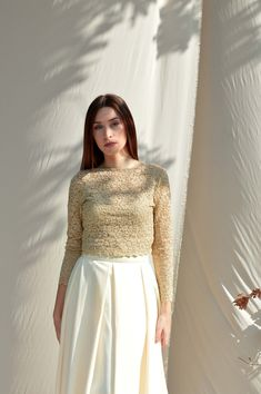 Cream lace top, Open shoulder top, Long sleeve lace top, Wedding lace top, Plus size top Bridesmaids lace top Bridal separates top