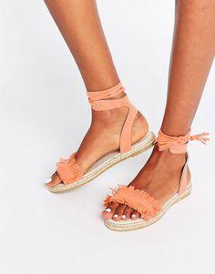 ASOS JACE Fringe Espadrille Sandals - Orange