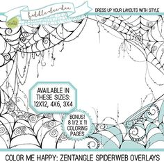 Color Me Happy: Zentangle Spiderweb Overlays