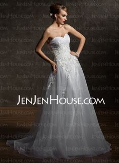 A-Line/Princess Strapless Sweetheart Court Train Satin Tulle Lace Wedding Dresses With Lace (002012043) - JenJenHouse en £130