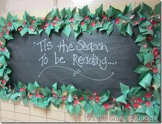 I love the Christmas lights around the bulletin board!