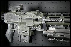 Custom Painted Nerf Stryfe by RazorFireCreations on Etsy Modified Nerf Guns, Nerf Mod, Steampunk Weapons, Nerf Party, Future Weapons, Custom Guns, Cardboard Crafts, All Toys, Rifles