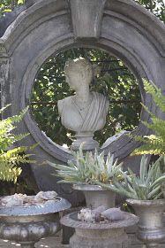 vignette of urns, l'oeil de boeuf, statue Garden Urns, Garden Statues, Garden Sculpture, Beautiful Space, Beautiful Gardens, Outdoor Projects, Outdoor Decor, White Gardens, Garden Ornaments